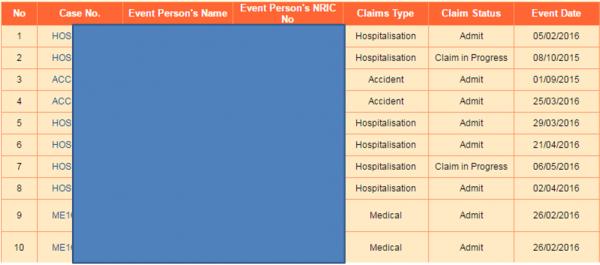 Contoh Claim Status yang telah disubmit